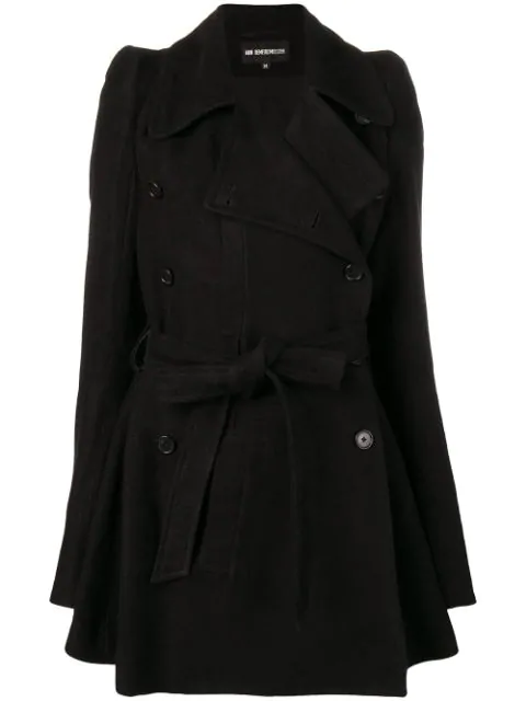 Ann Demeulemeester Belted Trench Coat In Black
