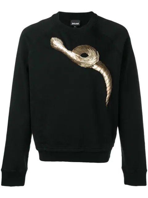 Just Cavalli Snake Print Sweater In Black