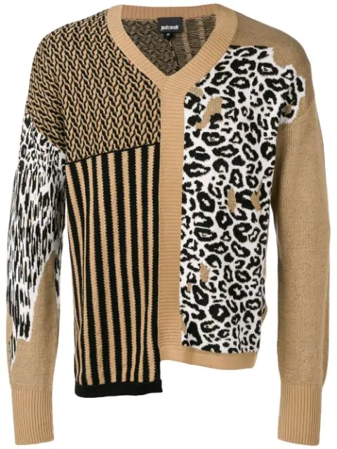 Just Cavalli Asymmetric Patterned Sweater In Neutrals