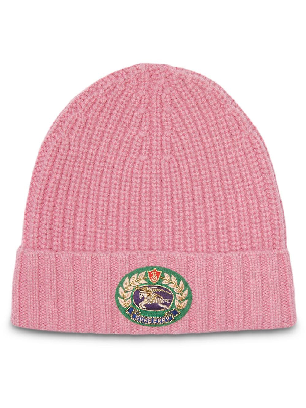 44255ab1b28 Burberry Embroidered Crest Rib Knit Wool Cashmere Beanie - Pink ...