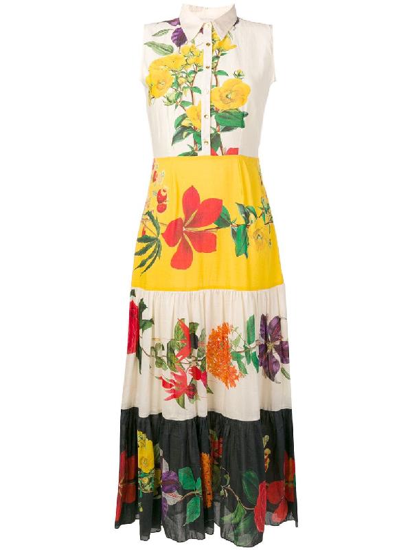 Carolina K Natalie Floral Cotton Silk Dress In Yellow