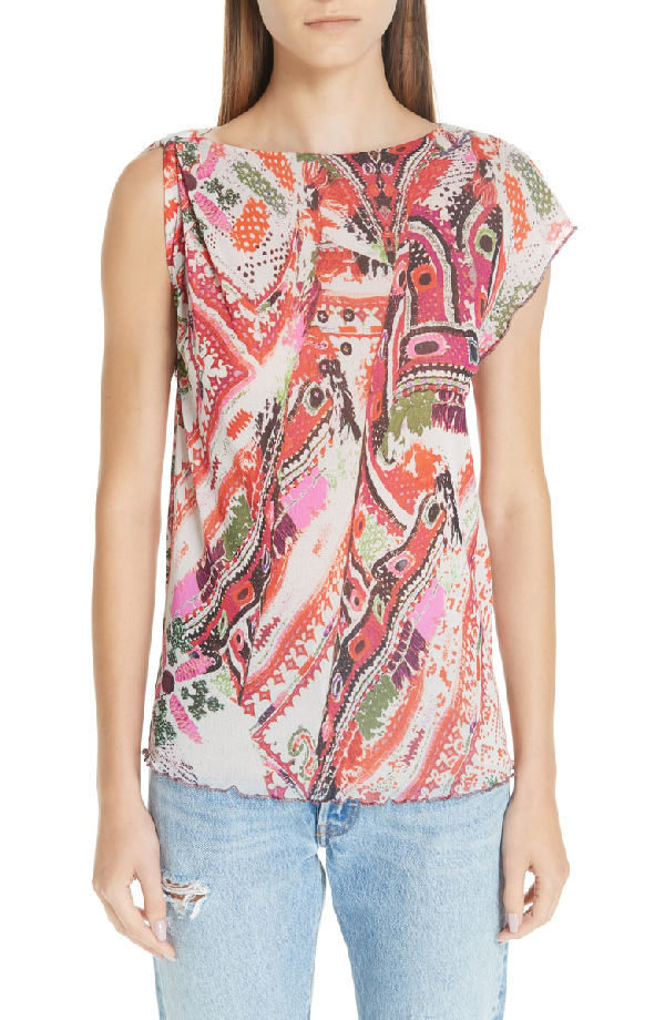 Fuzzi Print Tulle One-Sleeve Top In Corallo