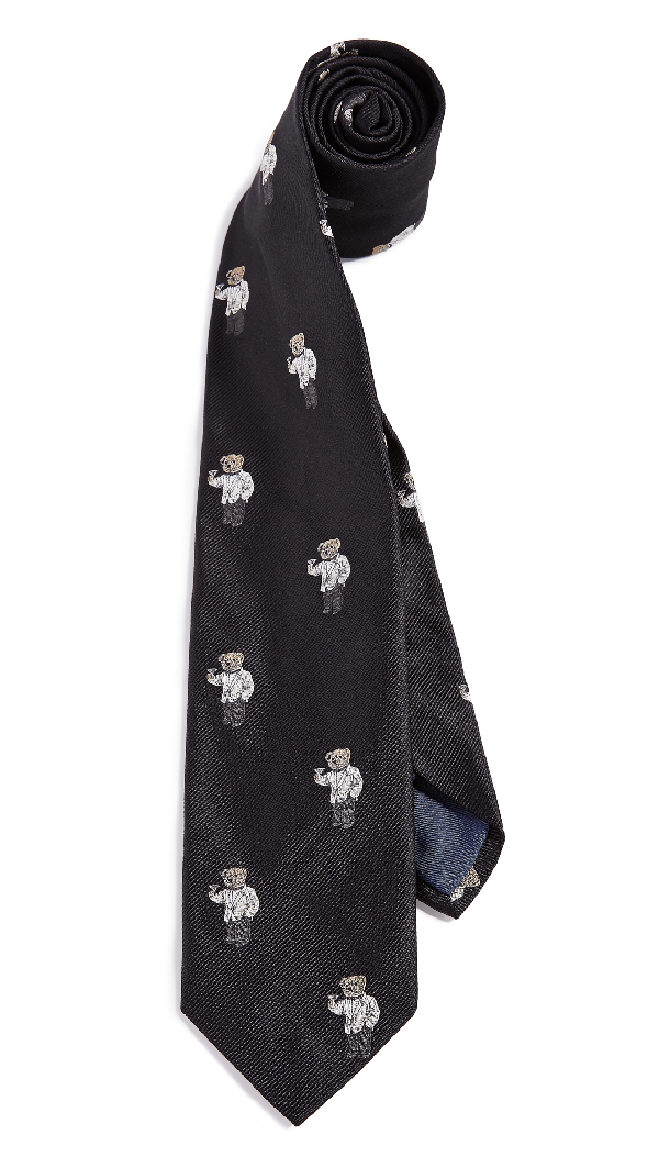 0ed6a81b1243 Polo Ralph Lauren Tuxedo Polo Bear Tie In Black | ModeSens