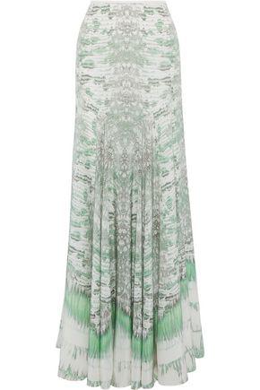 Roberto Cavalli Woman Printed Silk Crepe De Chine Maxi Skirt Mint