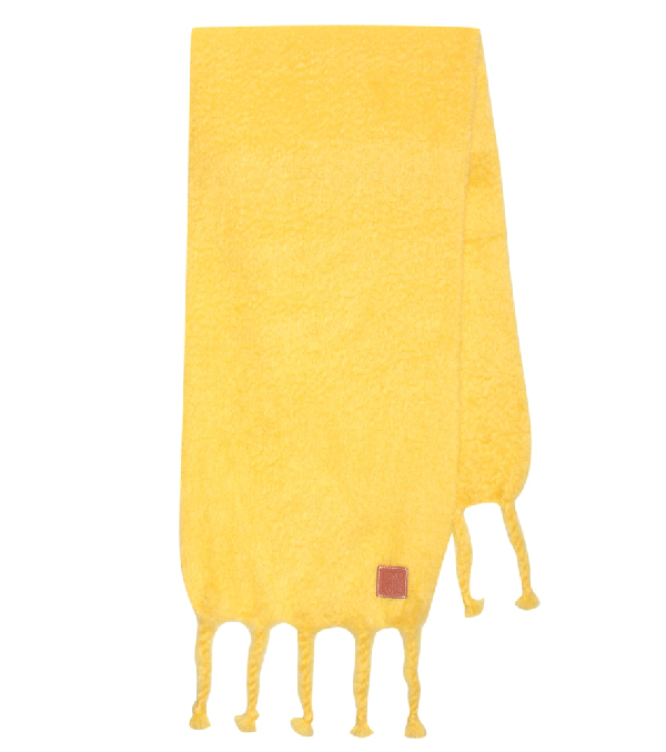 Loewe Oversized Mohair And Wool Scarf In Yellow