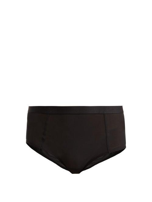 Negative Underwear Sieve High-rise Mesh Briefs In Black