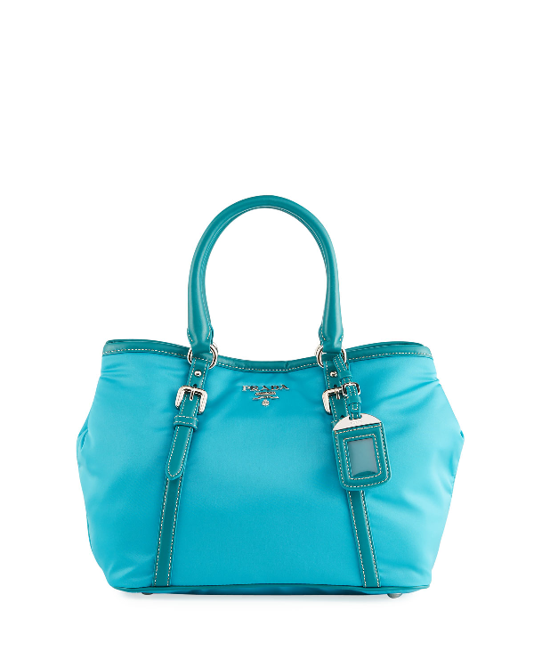 5f8c09f3a337 Prada Leather-Trim Nylon Handbag In Turchese 1Turquoi