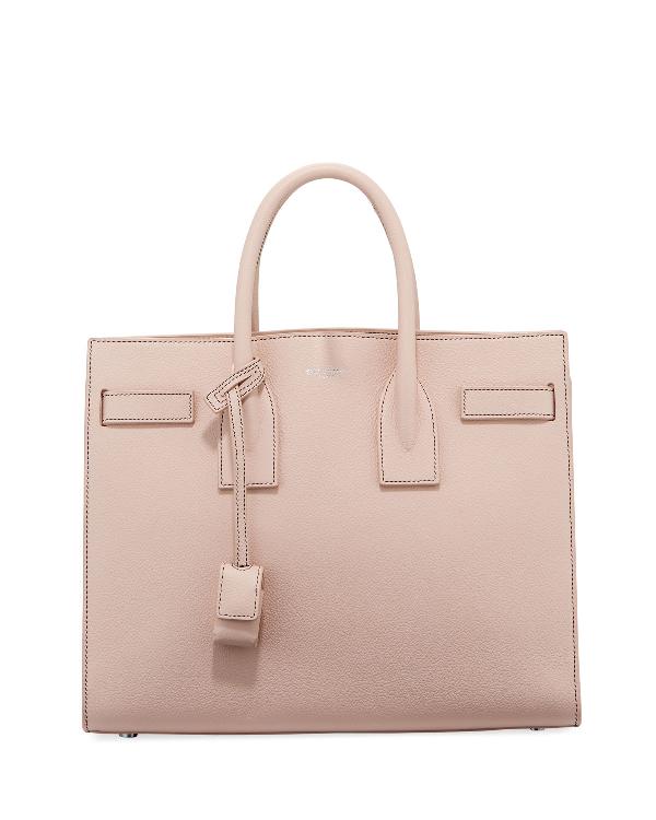098480548858 Saint Laurent Sac De Jour Small Topstitched Leather Tote Bag
