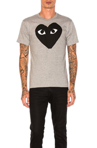 Comme Des Garçons Play Emblem Cotton Tee In Grey & Black