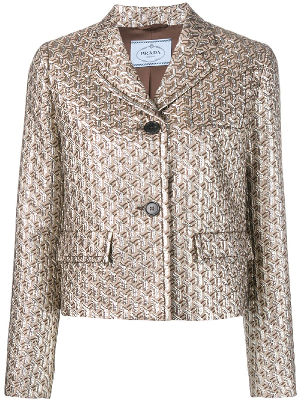 46d2ab5f0e0132 Prada Metallic Brocade Crop Two-Button Blazer In Brown | ModeSens