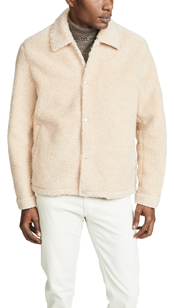 Vince Sherpa Coaches Jacket In Natural