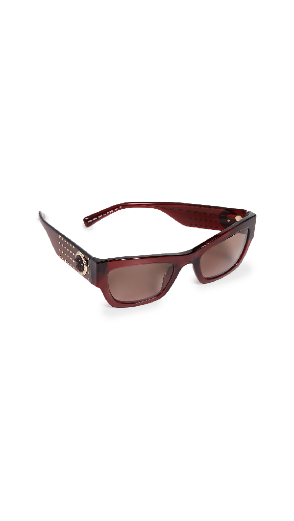 267a74c1f2 Versace Rock Icons Studded Sunglasses In Transparent Red