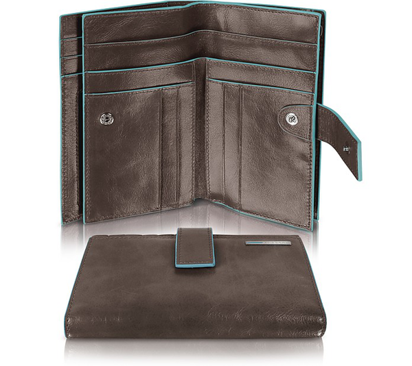 Piquadro Blue Square - Women's Leather Card Holder & Id Wallet In Dark Brown