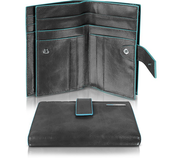 Piquadro Blue Square - Women's Leather Card Holder & Id Wallet In Black