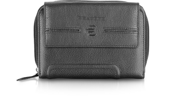 Piquadro Vibe - Leather Flap Wallet In Black