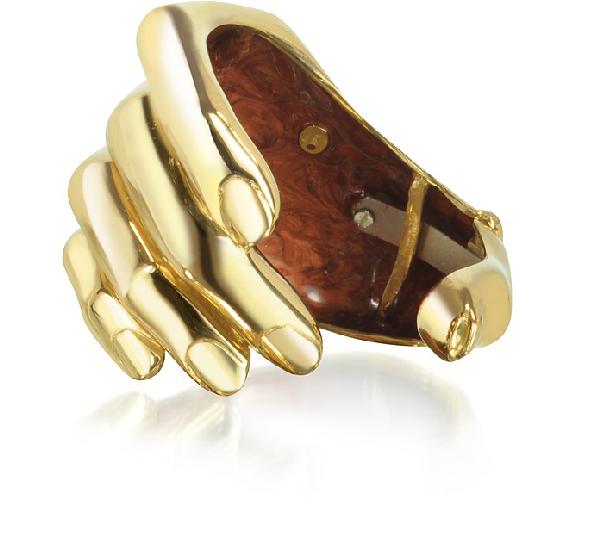 Bernard Delettrez Hand Bronze Cuff Bracelet In Gold