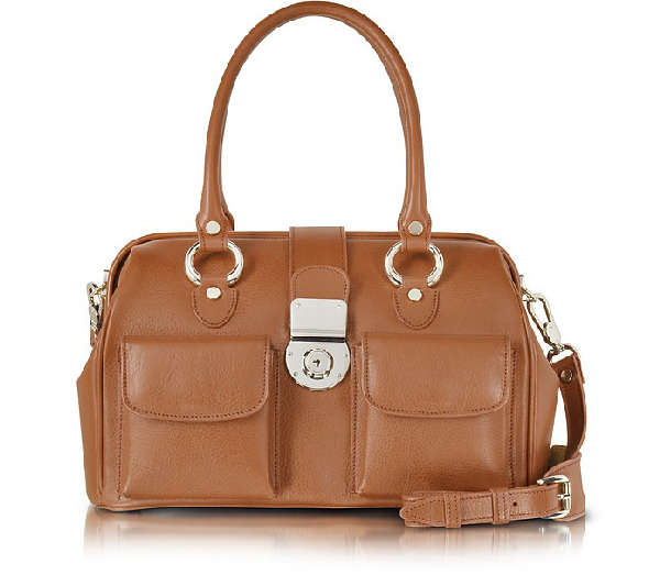 L.a.p.a. Front Pocket Calf Leather Doctor-style Handbag In Tan