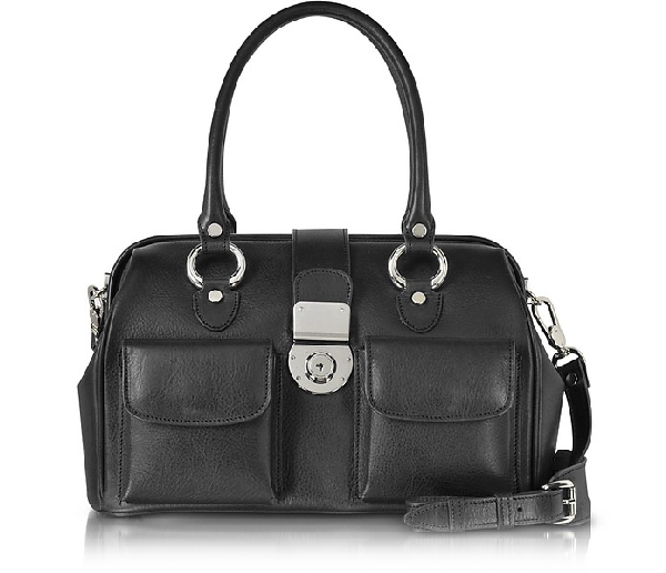 L.a.p.a. Front Pocket Calf Leather Doctor-style Handbag In Black
