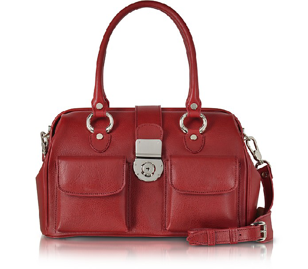 L.a.p.a. Front Pocket Calf Leather Doctor-style Handbag In Ruby