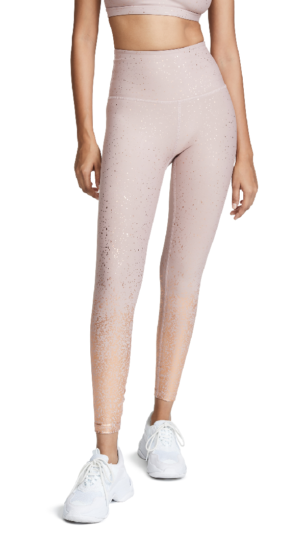 167df64bbb Beyond Yoga Alloy Ombre Metallic High-Rise Leggings In Brazen Blush/Rose  Gold Speckle