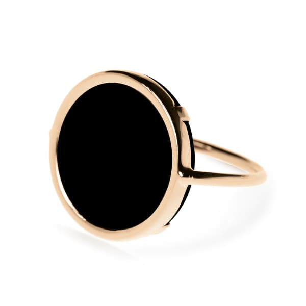 Ginette Ny 18K Rose Gold Black Onyx Disc Ring In Or Rose