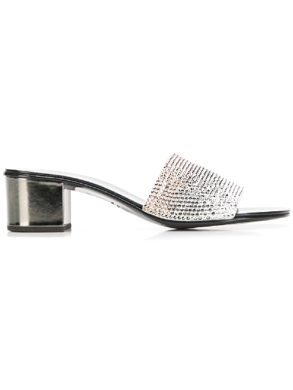 54ea3d4e019c3 Giuseppe Zanotti OmbrÉ Crystal Slide Sandals In Silver | ModeSens