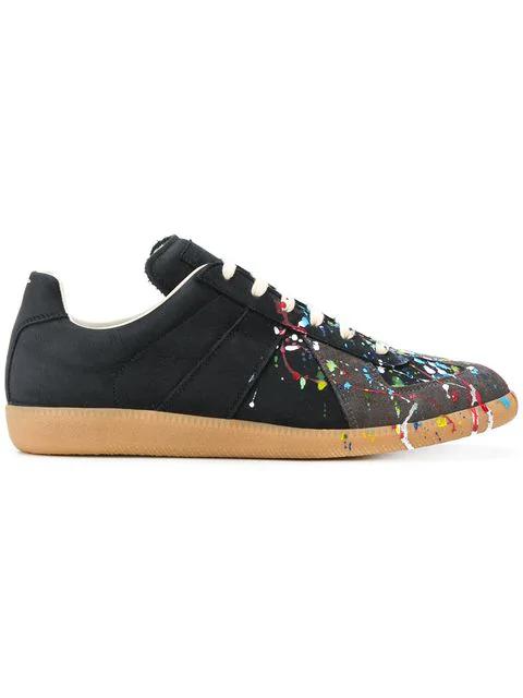 Maison Margiela Men's Splatter-print Painter Low-top Sneakers, Black Pattern In 964