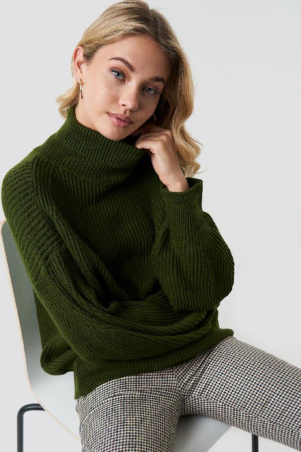 9335a2e30 Trendyol Balloon Sleeve Knitted Polo Jumper - Green   ModeSens