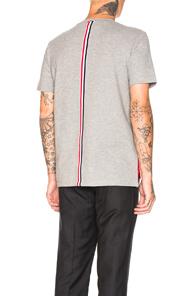 Thom Browne Stripe-Trim Cotton T-Shirt In Light Grey