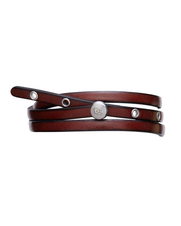 Degs & Sal Men's Leather Wrap Bracelet In Stainless Steel In Cinnamon