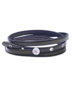 Degs & Sal Men's Leather Wrap Bracelet In Stainless Steel In Olive