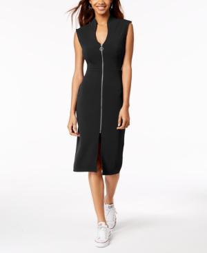 Almost Famous Juniors' Zip-Front Dress In Black