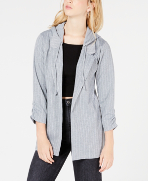 Almost Famous Juniors' Ruched-Sleeve Hoodie Blazer Jacket In Grey White