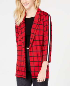 Almost Famous Juniors' Plaid Stripe Blazer Jacket In Red