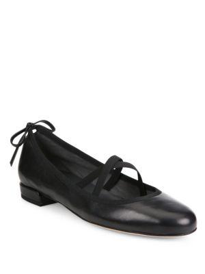 2678ea5cadc Stuart Weitzman Bolshoi Leather Crisscross Ballet Flats In Black ...
