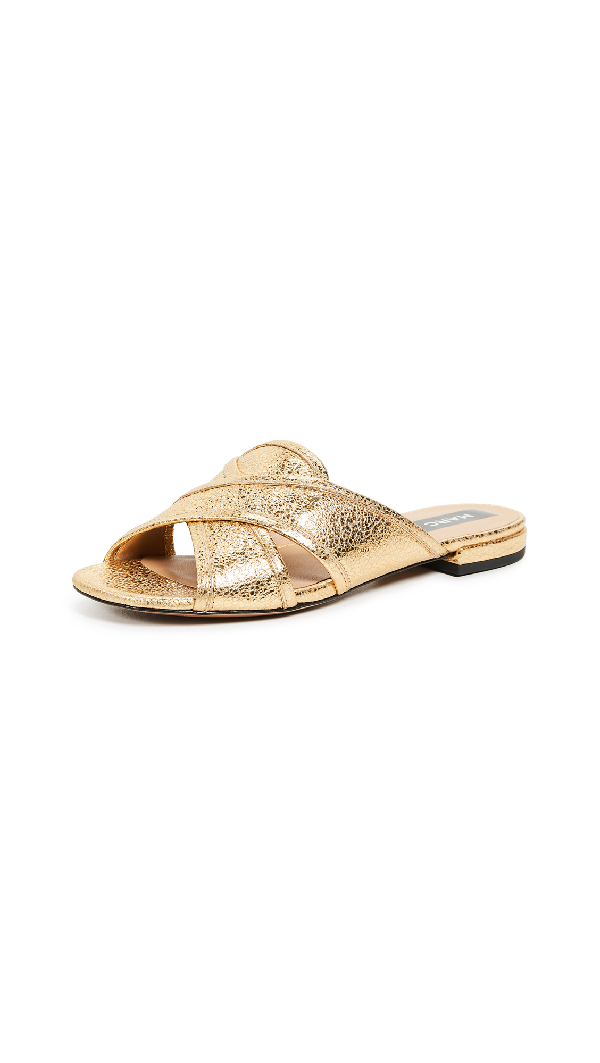 Marc Jacobs Women's Aurora Leather Crisscross Slide Sandals In Gold