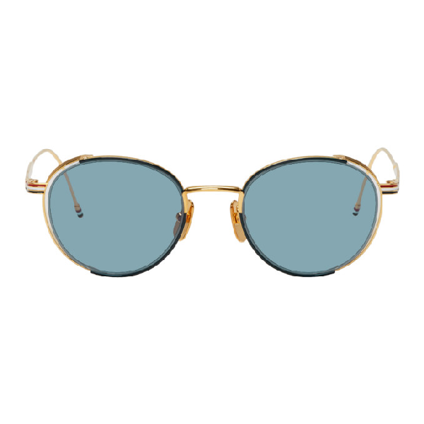 b4832621fa44 Thom Browne Navy And Gold Tb-106 Sunglasses In Navygoldblu