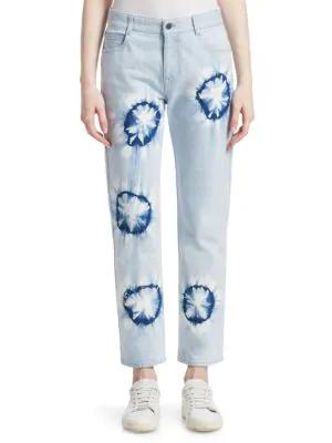 Peserico Boyfriend Tie-dye Jeans In Light Blue