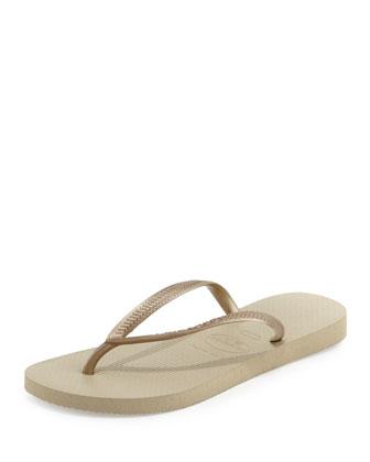 Havaianas Slim Flip Flops In Sand Grey/Light Golden;White;Grey/Silver;Navy;Black;Rose;Brown