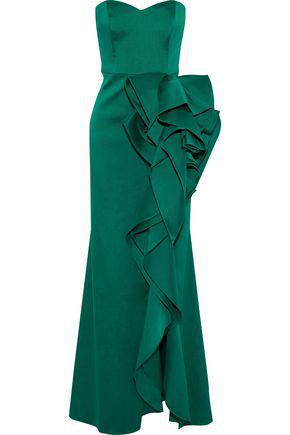 03b42744f9fb Badgley Mischka Woman Strapless Draped Duchesse-Satin Gown Emerald ...