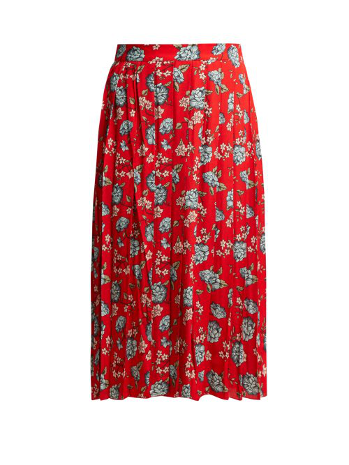 00460ed463 Vetements Pleated Floral-Print Crepe Midi Skirt In Red Multi | ModeSens