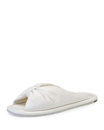 new product 29bdc 7f0d3 Bow Leather Flat Slide Sandal, Ivoire in White