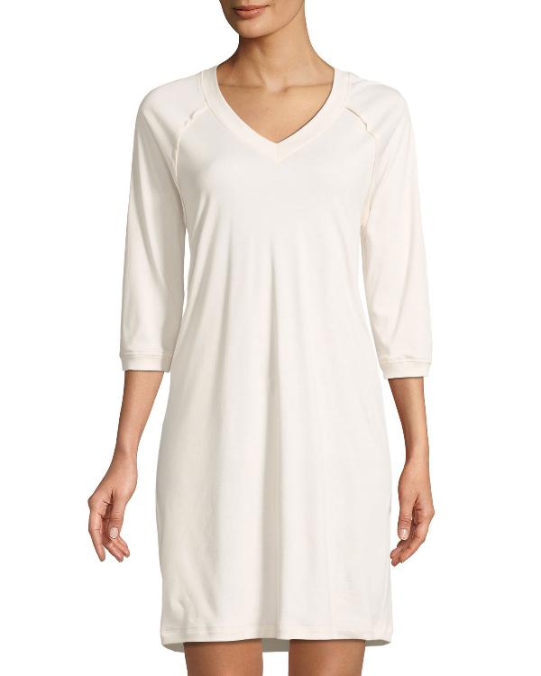 b6fb919144 Hanro Pure Essence Raglan Three-Quarter Sleeve Cotton Short Gown In Dark  Blue