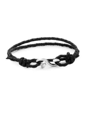 Link Up Leather Hook Bracelet In Black