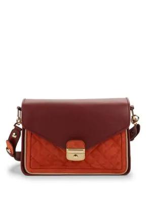cfd6da1d5 Longchamp Leather & Suede Shoulder Bag In Burnt Red   ModeSens