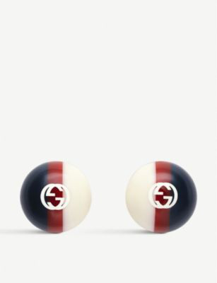 Gucci Wed Print Resin Studs In White/red/blue