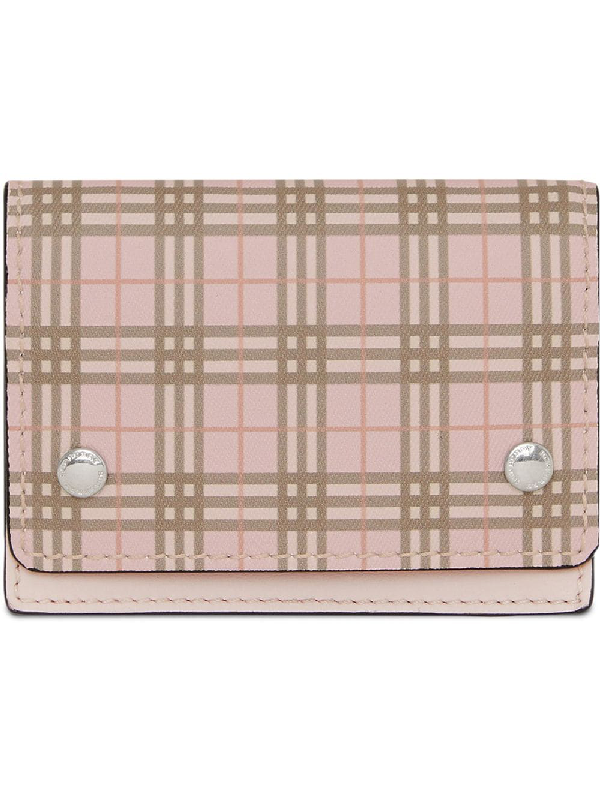 Burberry Small Scale Check And Leather Folding Card Case In Pink