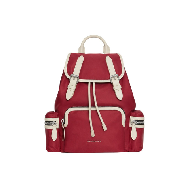 Burberry The Medium Rucksack In Technical Nylon And Leather In Crimson