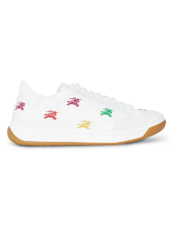 bcc3c23e0e7 Burberry Timsbury Rainbow Knight Embroidered Leather Sneakers In Opt ...