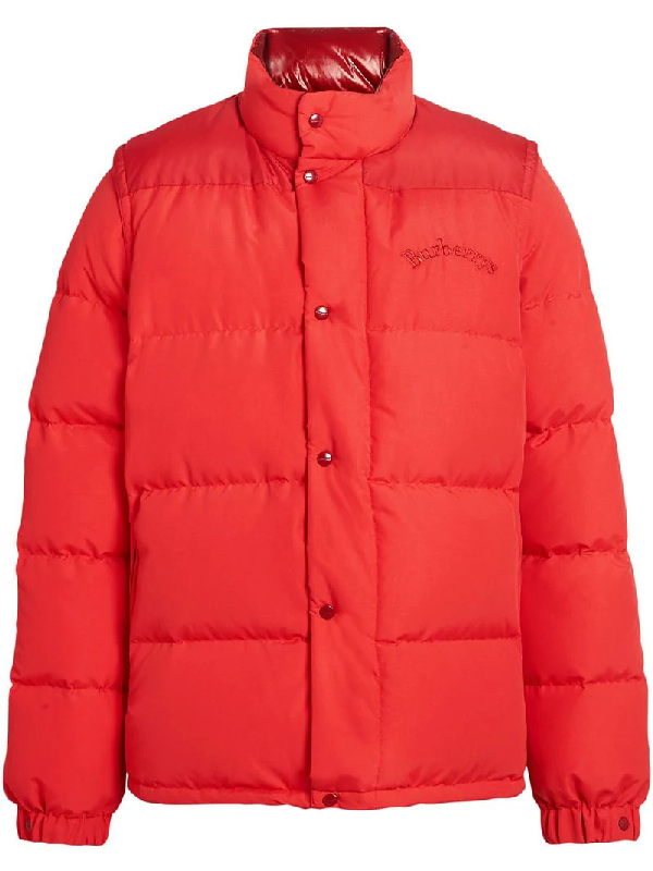 e424bca2c5b Burberry Detachable-Sleeve Down-Filled Puffer Jacket In Red | ModeSens